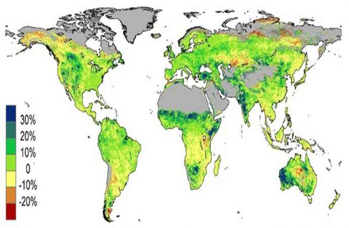 Earth, Greener today than Previous Three Decades